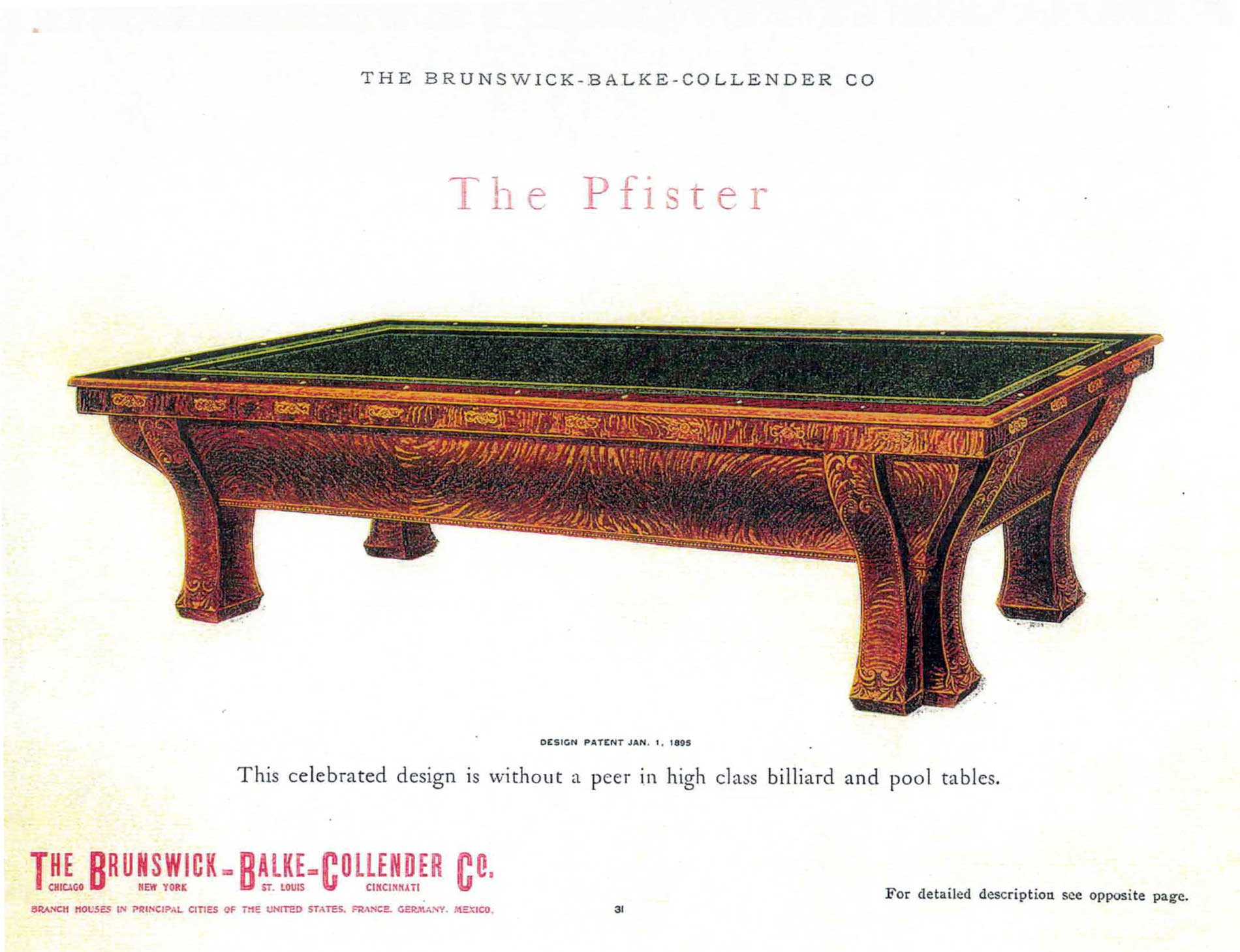 The Pfister Antique Brunswick Pool Table For Sale Cowboy Billiards - High end pool table